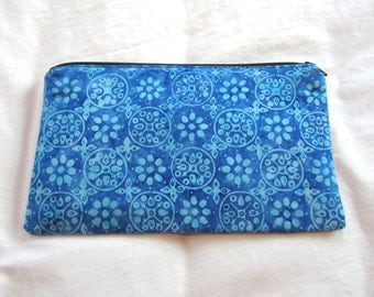 Blue Batik Fabric Zipper Pouch / Pencil Case / Make Up Bag / Gadget Sack