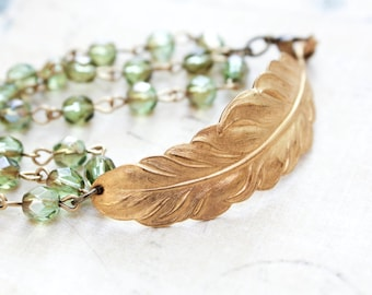 Golden Feather Bracelet with Green Glass Beaded Chain Gold Brass Woodland Wedding Jewellery Nature Inspired Bridesmaids Womens Gift