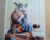 Signed Print, Knitting Sheep Illustration