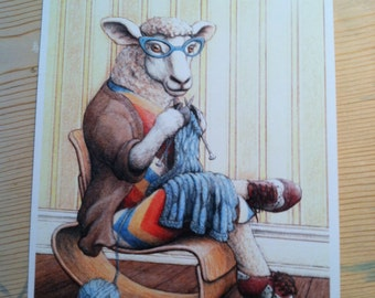 Signed Print, Knitting Sheep Illustration