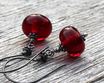 Deep Red Dangle Glass Earrings, Sterling Silver, Lampwork Jewelry, Handmade,  Red Glass, Glass Jewelry