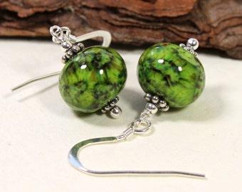 Green Grass Meadow Glass Earrings, Spring, Lampwork Jewelry, Green Glass, Glass jewelry, Sterling Silver, Green earrings, Handmade in Sweden