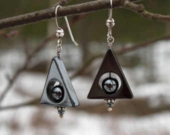 Cool Black Hematite Triangle Dangle Earrings with Sterling Silver, Jewelry, Black Earrings, Hematite, Swedish Handmade, Dangle,