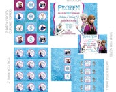 DIY -  Printable: Frozen Birthday Party Set - 16 items (invitation, party circles, water bottle labels, banner and more)