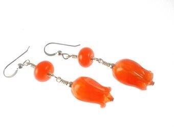Lampwork Earrings, Orange Tulip Earrings, Glass Bead Earrings, Dangle Earrings, Lampwork Jewelry, Flower Earrings, Glass Bead Jewelry