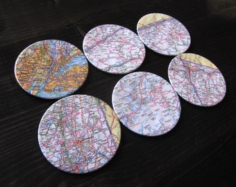 New York Vintage Map Coasters (Set of 6)