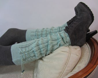 Lace Boot Socks Women's Knit Leg Warmers Boot Toppers Lace Up Blue Aqua Cable Knit A1339