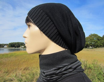 Men's Black Beanie Warm Winter Hat Slouchy Tam Thick Knit Baggy Long Back Beanies A1549 / A1707