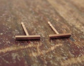 Tiny 14K Pink Gold Bar Studs Gold Bar Earrings Gift 14K Studs Rose Gold Women Valentine's Day Gifts for Her Fine Jewelry Simple Line Earring