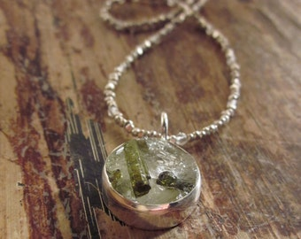 Green Tourmaline Necklace Raw Crystal Quartz Necklace Tourmaline Crystal Jewelry Silver Beaded Necklaces Bead Necklace Womens Gift Her Women