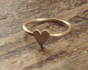 Gold Heart Ring Rose Gold Ring 14K Heart Rings Heart Jewelry Womens Gift for Her Pink Gold Stacking Rings Rose Gold Stackable Rings 14K Ring