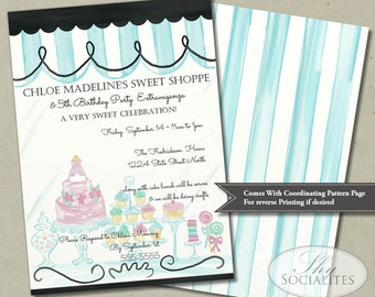 Sweet Shop Invitation | Birthday, Bake Shoppe, Baking Party, Bakery, Cakes, Cupcakes | Instant Download