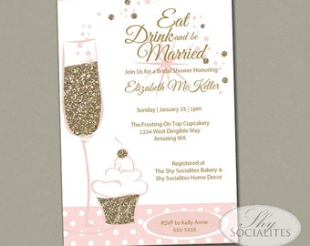 Glitter Cupcake and Champage Invitation / Cupcake and Champagne Engagement / Bridal Shower/ Blush and Gold / PDF Printable/ 21st Birthday