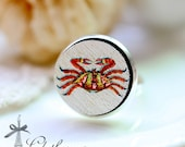 20% off - NEW Unique 3D Embossed  Crab 16mm Round Handmade Wood Cut Cabochon to make Rings, Earrings,,Necklaces, Bracelets-(WG-74)