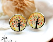 20% off -NEW Unique 3D Embossed  Tree 16mm Round Handmade Wood Cut Cabochon to make Rings, Earrings, ,Necklaces, Bracelets-(WG-133)