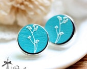 20% off -NEW Unique 3D Embossed  Flower 16mm Round Handmade Wood Cut Cabochon to make Rings, Earrings, ,Necklaces, Bracelets-(WG-144)