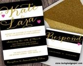 Gold Modern Glam Black and White Stripe Invitation Set by Luckyladypaper - CUSTOM CARD ORDER