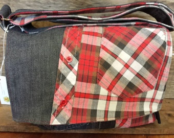 Messenger bag made with recycled fabrics,  plaid shirt and jeans!