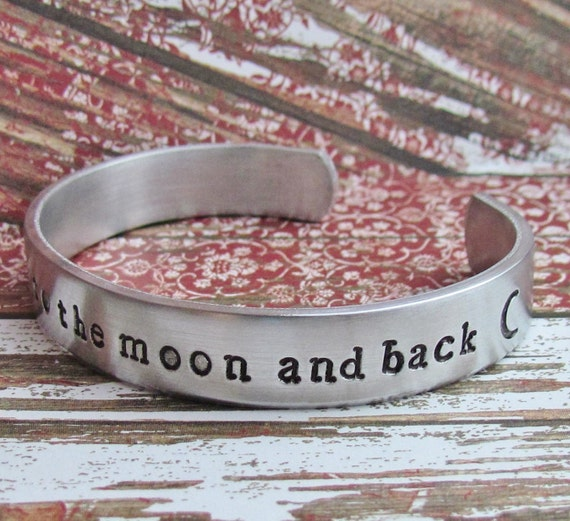 Childrens Boys Bracelet I LOVE You To The MOON And Back Cuff Aluminum Kids Jewelry Hand Stamped Custom Personalized Birthday Girls Toddler