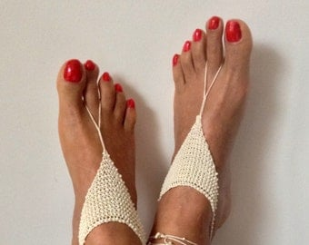 ivory, Barefoot Sandals, bead, barefoot sandles, wedding, Bikini, Bridal Sandals, Bridal Jewelry, shoes Women, Beach, READY TO SHIP