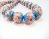 Murano Blue Glass-  1950s Beaded Necklace-  Venetian Glass-  Wedding Cake Design-  Italian Glass-  Robin Egg Blue- Handmade Italian Lampwork