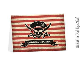 Pirate Thank You Card - Thanks Mateys - Printable Card - Instant Download