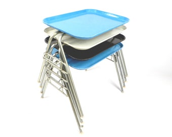 Herman Miller Eames stacking base bright blue fiberglass mid century modern tray table #3of4