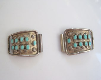 Southwestern Watch Tips - Sterling Silver and Turquoise Watch Ends - Southwest jewelry