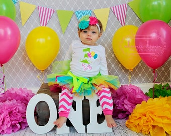 My First Birthday Colorful Balloon Bodysuit, Multi Colored Tutu, and Matching Chevron Leg Warmers