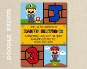 Super Mario Bros Invitation - Printable Personalized Birthday Party Invitation - Vintage Video Game Printable Party Boys - Luigi, Mario Bros