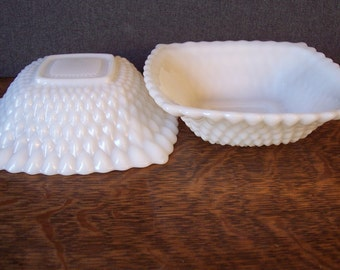 Vintage Milk Glass Pair of Square Bowls English Hobnail Pattern