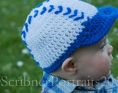 Crochet Baby Hat,  Baseball Cap with blue or red trim