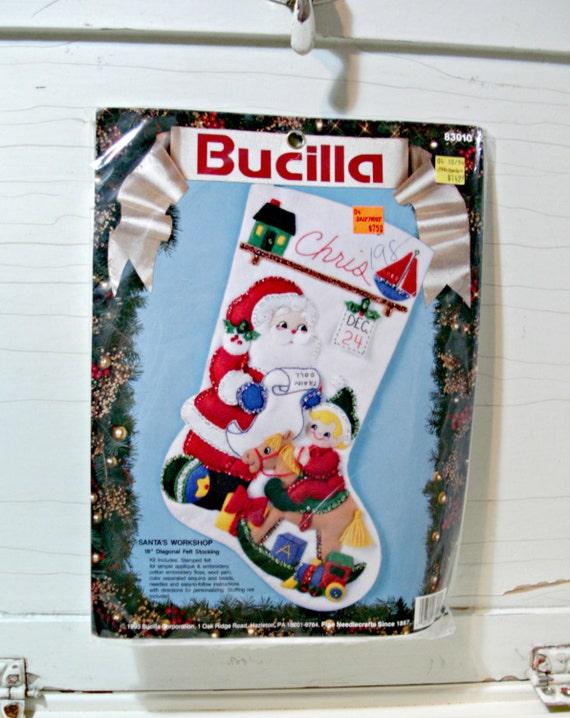 Vintage Felt Stocking Kit Bucilla Santa by ...