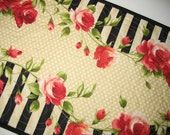 Roses Table Runner, Spring or Summer in red, black and cream polka dot, fabric from Maywood