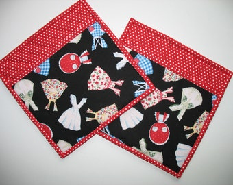 Fanciful Pot Holders, Aprons on Black  with White Polka Dotson Red, fabric from Timeless Treasures Fabric (Set of 2)