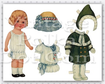 Antique Paperdoll Paper Doll Printable Digital Little Girl with Dresses and Coat Bonnets Outfits 1930's Instant Download