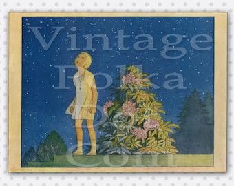 Clip Art Stars Printable IllustrationVintage Art Deco Graphic Child Star Gazing Beautiful Vintage Art Digital Instant Download