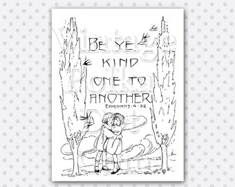 Clip Art Vintage Bible Verse Be Ye Kind Scripture Children Birds Graphics Clipart Printable DigitalInstant Download Scrapbooking