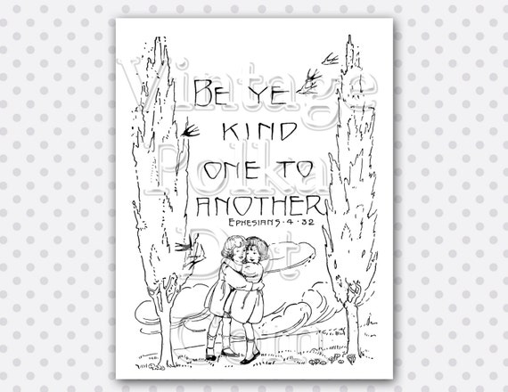 clip art vintage bible verse be ye kind scripture children   Be Kind To One Another Coloring Page