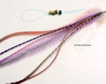 Peach Pink Purple Feather Hair Accessory Feather Extension Kit Emu Rooster Feather Hair Accessories Long Hair Feathers 6 Bonded Feathers