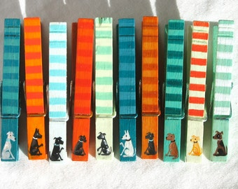 10 TINY DOG CLOTHESPINS hand painted magnets