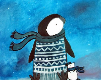 Penguin Kids Art Print Wall Art Nursery Decor Children's Art Whimsical Wishing Star Blue Artwork