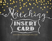 MATCHING Insert Card  - To coordinate with any invitation design in the shop