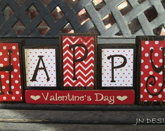 Valentine's wood blocks-Happy Valentine's Day