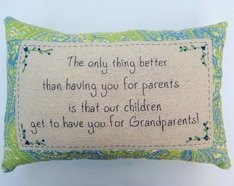 Grandparents Embroidered Pillow