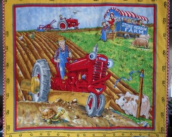 Red Tractor Quilt and Pillowcase