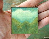 "2""x2"" mini art block, wood mounted print, mounted wood block, mixed media art, mini art, cloud art, blue, white, green ""Sky & Mountains"""