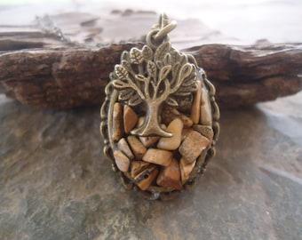 TREE &  JASPER Stone  long necklace with jasper landscape (717)