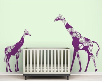 "Violet ""Mom and Baby Floral Giraffes"" Wall Decal"