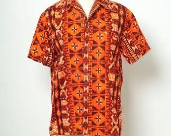 Vintage 50s  Hawaiian / Vintage 1960's Men's Hawaiian short sleeve shirt / viva las vegas shirt / Barkcloth  / hawaiianshirt